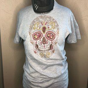 🆕 Grey Skull Next Level Brand Unisex Graphic Tee